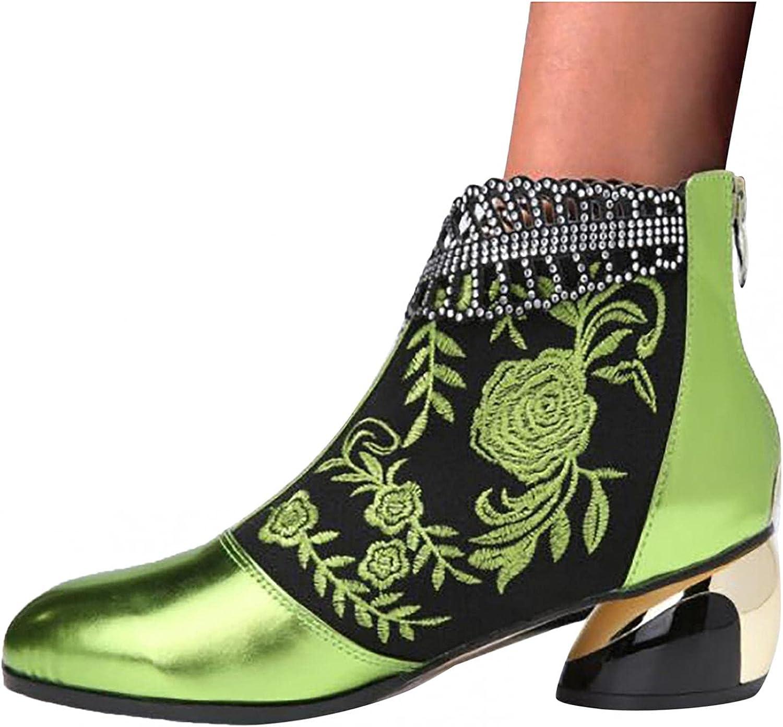 Zieglen Platform Boots for Women, Retro Thick High Heel Ankle Bo