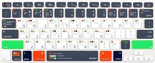 پوشش صفحه کلید سیلیکون MOSISO با الگوی سازگار با MacBook Pro 13/15 در (با / بدون نمایش شبکیه ، 2015 یا نسخه قدیمی) MacBook Air 13 اینچ (نسخه 2010-2017) ، Mac OS X OSX-M-CC-2 ، خاکستری