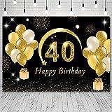 Foto Fondos 40th Happy Birthday Party Decoraciones Globos Dorados Fondos Brillantes Fotografía Estudio Fotizone Fotophone decor-8x5ft