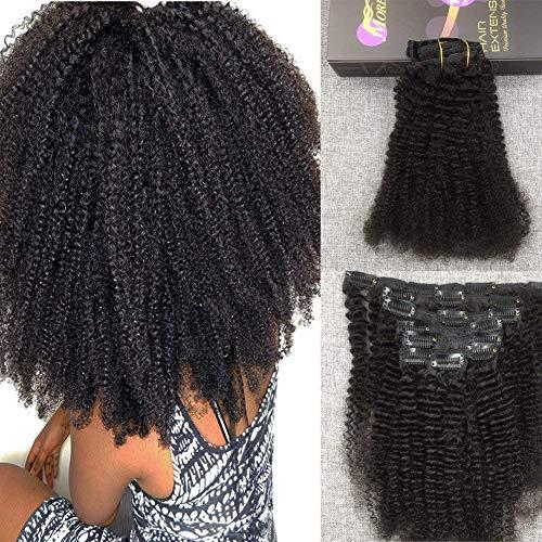 【3% réduction】 Afro Curly Extension Cheveux Noir/#1B Naturel Clip in Extension Vrai Cheveux Remy Meche Bresilienne Hair Tissage Clip 12pouce 100gram 7pcs