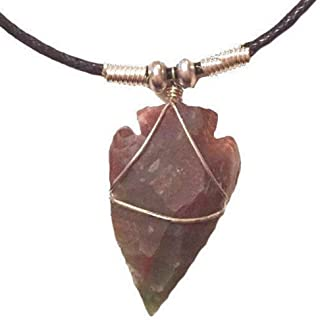 Genuine Wire Wrapped Semi Precious Stone Arrowhead Pendant Necklace ~ Unisex ~ Customizable ~ Made to Your Order