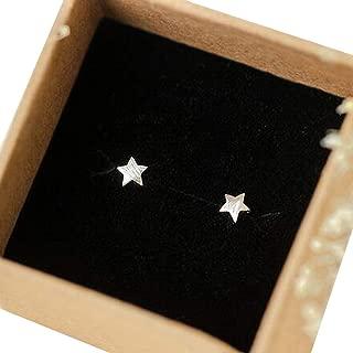 Small Tinny Earrings Lady's 925 Sterling Silver Jewelry Matt/Brushed Star Stud Earrings 5mm