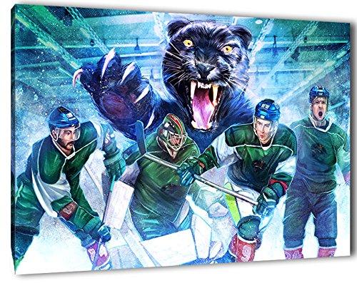 Augsburg Eishockey, Fan Artikel Leinwandbild, Größe: 60x40cm, Auf Holzrahmen gespannt, Kein Poster oder billig Plakat, Must Have für echte Fans