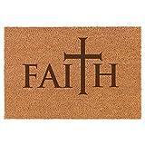 Daylor 30' x 18' Coir Doormat Entry Door Mat Faith Cross