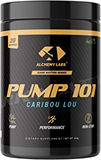 Alchemy Labs - Pump 101 Caribou Lou - Strongest Nitric Oxide Boosting Supplement, Glycerol, 6000mg L Citrulline, Taurine, L Norvaline, Astragin, Build Muscle, Increase Blood Flow, Vascularity, 20 Sv