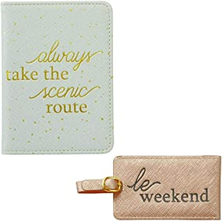 Mud Pie Womens Ivory Faux Leather Passport and Blush Pink Luggage Tag Set