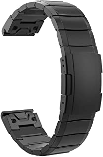 TiMOVO Pulsera Compatible con Garmin Instinct/Fenix 6/6 Pro/Fenix 5/5 Plus/Forerunner 935/945, Pulsera del Metal del Acero Inoxidable, Reemplazable con Doble Botones Plegable con Herramienta - Negro