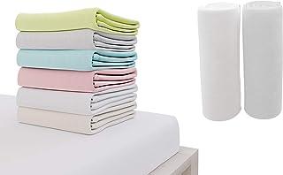 Dreamzie - Drap Housse 70x140 cm - 100% Coton Jersey Certifié Oeko-TEX® - Blanc et Gris - pour Matelas 70 x 140 x 12 cm av...