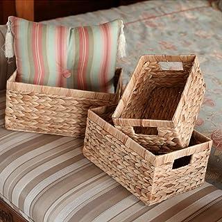 Cikonielf Lot de 3 paniers de rangement tissés à la main en jacinthe d'eau naturelle pour chambre, salle de séjour, bureau