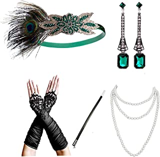 1920s Accessories Headband Necklace Gloves Cigarette Holder Flapper Costume Accessories Set for Women