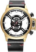 Men's Punk Skull Watch Luxury Skeleton Leather Wrist Watches