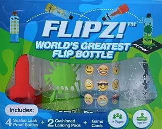 FLIPZ! The World's Greatest Flip Bottles for Bottle Flip Games! - Complete Game Set includes 4 bottles, 2 landing pads, and challenging flip game cards