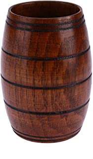 Whitelotous Jujube Wooden Barrel Shaped Beer Mug,Classical Wooden Drinking Cup (700ml)