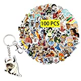 Kilmila Avatar The Last Airbender Stickers (100Pcs with Appa Keychain) Gifts Merch Avatar The Last Airbender Keychain Party Supplies Decal for Water Bottle Laptop Car Luggage Graffiti Teens Girls