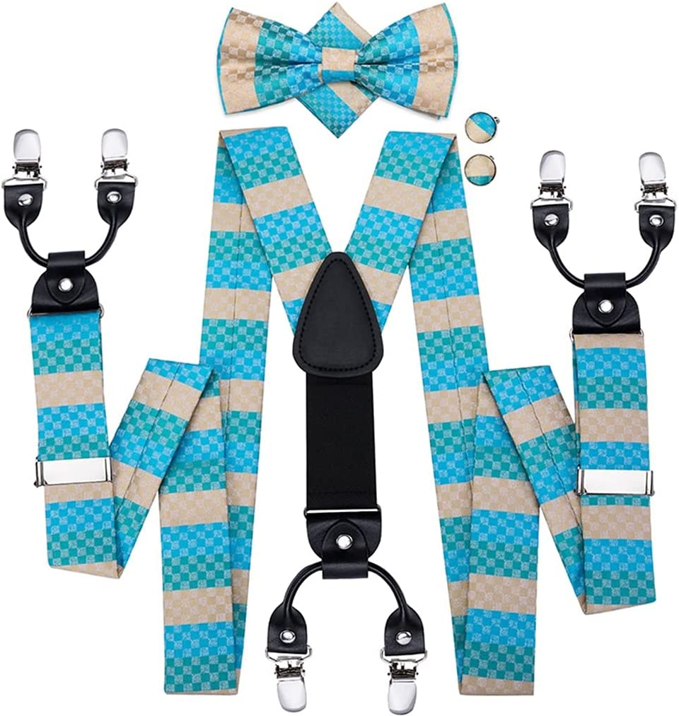 NJBYX Men Suspenders 35mm Wide Vintage Fashion Elastic Adjustable Suspender and Bow Tie for Wedding Party (Color : A, Size : Adjustable)