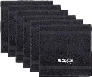 Luxury Spa and Hotel Quality Premium TurkishTowel Set (6-Piece Washcloth Set, Make-up Black)
