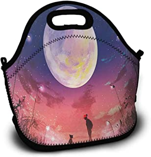 Fantasy, Picnic Bag, Sundries Bag, Shopping Bag, Lunch Bag, Pattern Printing, Young Woman with A Dog under Huge Moon Starry Sky Celestial Magical Friendship Art, 5.5x11x11 inch, Navy Coral