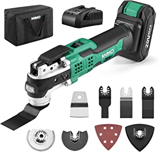 KIMO 20V Cordless Oscillating Multi-Tool, 2.0Ah Battery &Fast Charger, 21000 RPM Variable Speed &...