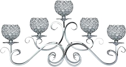 Thaiconsistent 5 Arms Candelabra Home Holiday Decorative Centerpiece Silver Crystal Candle Holders For Wedding Birthday Festival