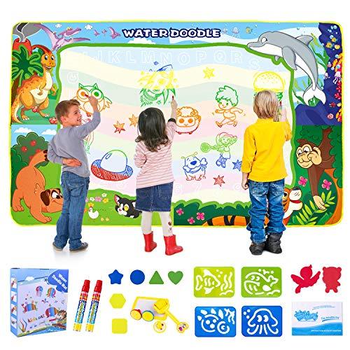 SPLAKS Doodle Tappeto, Tappeto Magico Bambini 150 *100cm , Ampia Superficie di Disegno con 6 Penne e Strumento Timbro,, Giocattoli Educativi per Bambini.
