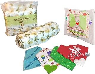 Baby Registry Shower Gift Set Bundle (1 Yellow Bunny Swaddle + 4 Teething Bibs)