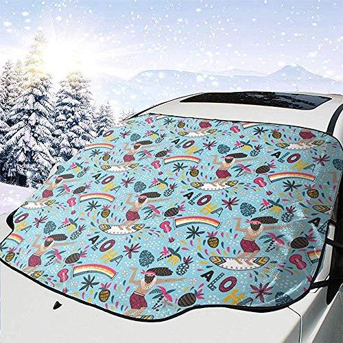 JONINOT Cubierta de Parabrisas Aloha Verano Tropical Surfer Parabrisas Cubierta de Nieve Nieve Hielo Frost Protección Completa UV Apto para la mayoría de vehículos SUV CRV Van