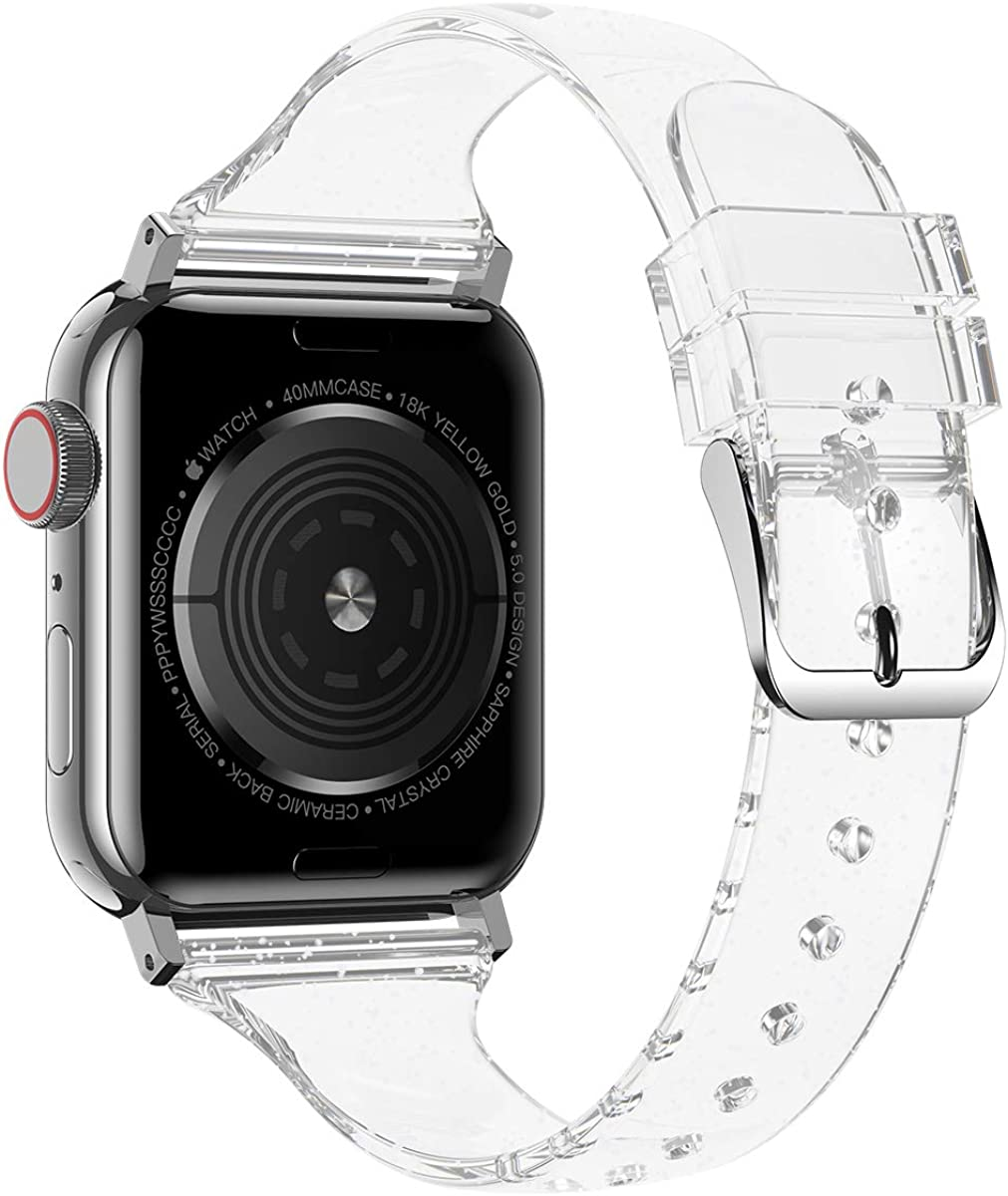 baozai Compatible with Apple Watch Band 38/40/41mm 42/44/45mm, Glitter Clear Soft Slim Thin Silicone Cute Band for iWatch SE Series7/6/5/4/3/2/1/SE Women