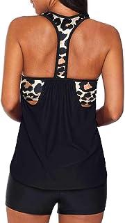 ملابس سباحة إيفالليس للنساء من قطعتين بنمط طبقي مطبوع عليها Tankini مع سروال سباحة قصير Racerback