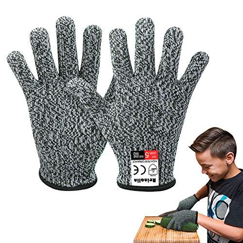 Reinalin Schnittsichere Handschuhe für Kinder, Küchenhandschuhe mit Hoher Schnittschutz der Leistungsstufe 5 für 5-8 Jährige,Lebensmittelkontaktqualität