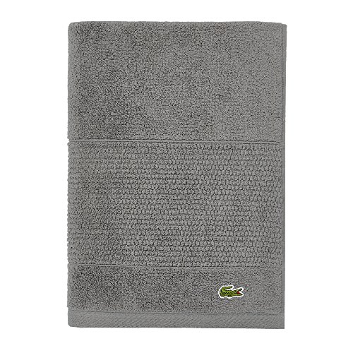"Lacoste Legend Towel, 100% Supima Cotton Loops, 650 GSM, 30""x54"" Bath, Meteorite"