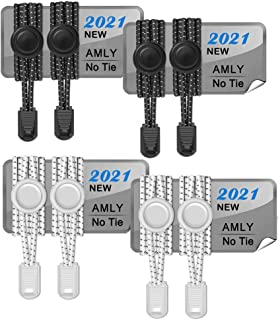 AMLY 4 Pairs of Elastic No Tie Shoelaces, Upgraded Lock, Reflective Shoe Laces for Kids and Adults