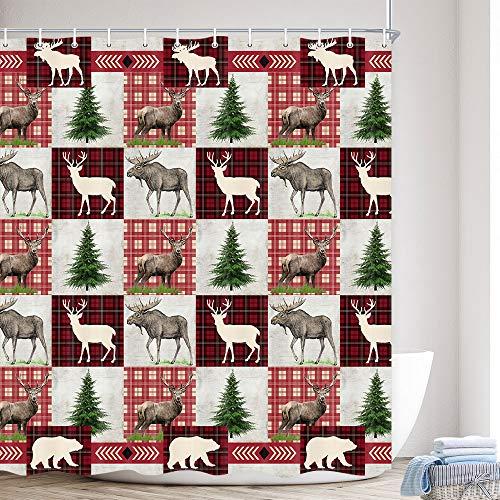 Rustic Shower Curtain, Cute Reindeer Cabin Shower Curtain Country Deer Wildlife Farmhouse Bath Curtain, Red Plaid Fabric Bear Camping Bathroom with Hook 69X70 inch