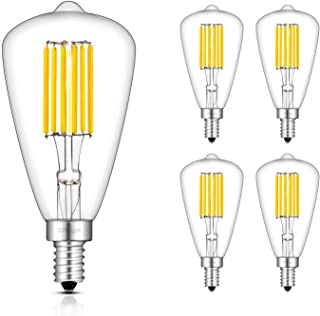 2W E26 // E27 coldwhite 110-240V HaoHZ Tubular Edison LED Light Bulb Dimmable 6-Pack,6500k T45 Antique Vintage Filament Bulb