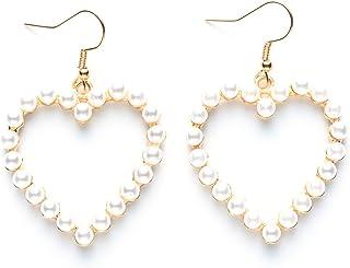 Pearl Earrings Heart Dangle for Women Girls Valentines Day Fashion Freshwater Teardrop Earrings Sterling Gold Jewelry Gift...
