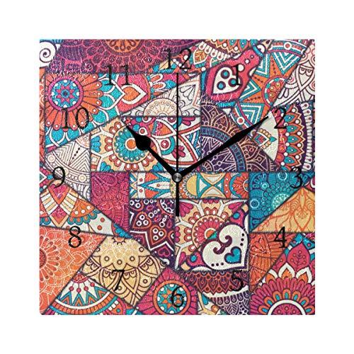 Ahomy Ziffernwanduhr Indianer-Stil Blumen Mandala Geometrisch 20cm Quadratische Uhr geräuschlos Nicht tickend batteriebetrieben Deko Wanduhr