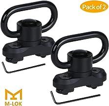 "GoldCam M-lok QD Sling Mount Sling Swivel, 2 Pack Quick Detach/Release 1.25"" Push Button QD Sling Swivels Mount Adapter Base Attachment for Mlok HandGuard - Black"