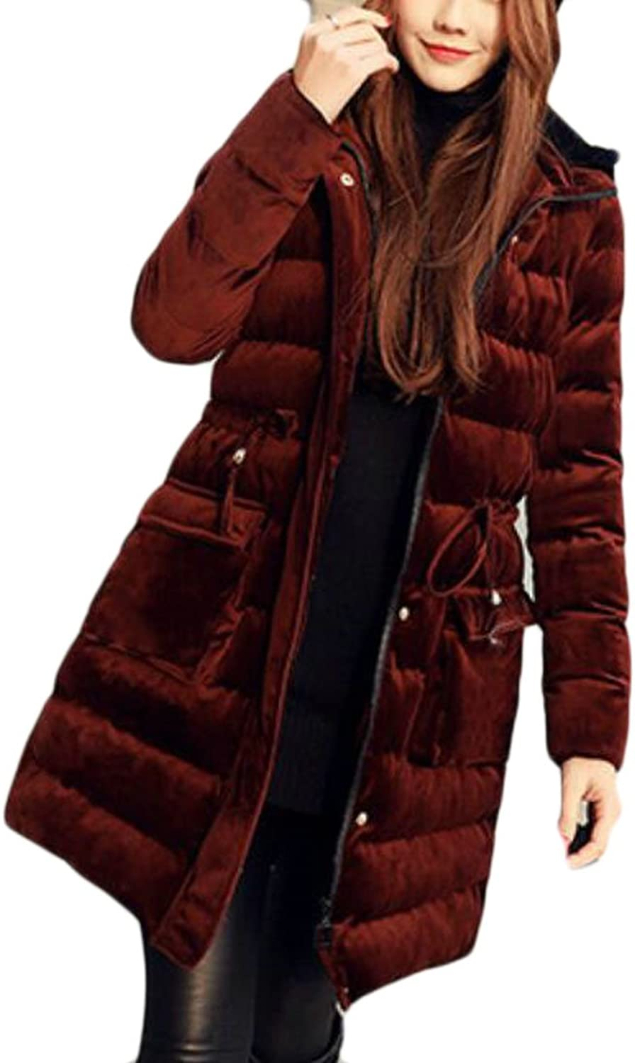 GAGA Women's Thicken Slim Fit Long Sleeve Velvet Hooded Casual Quilted Down Coat