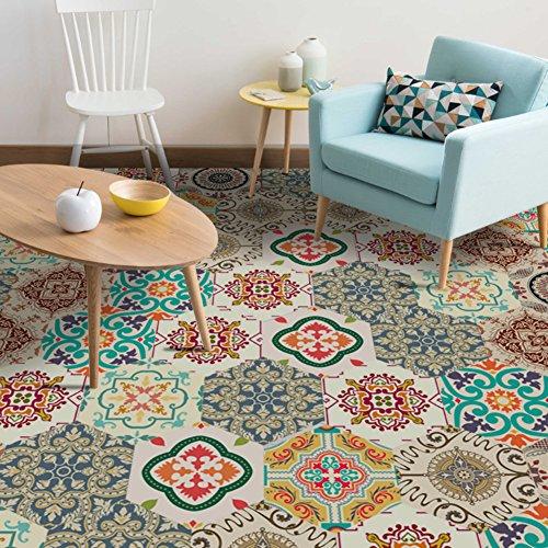 EXTSUD 10 Stück Sechseck Aufkleber mit Barock und Marokko Stil rutschfester und wasserfester...