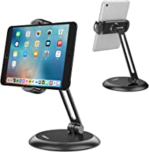 Nulaxy Tablet Stand, Adjustable Tablet Holder with Heavy Metal Base, Desktop Mount Recipe Holder Stand Compatible with 4-11
