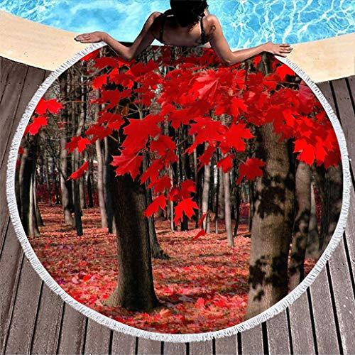Hothotvery Toallas de playa redondas con borlas rojas, árbol de arce, bosque impresas, multifuncionales, toallas de baño para adolescentes, color blanco, 150 cm