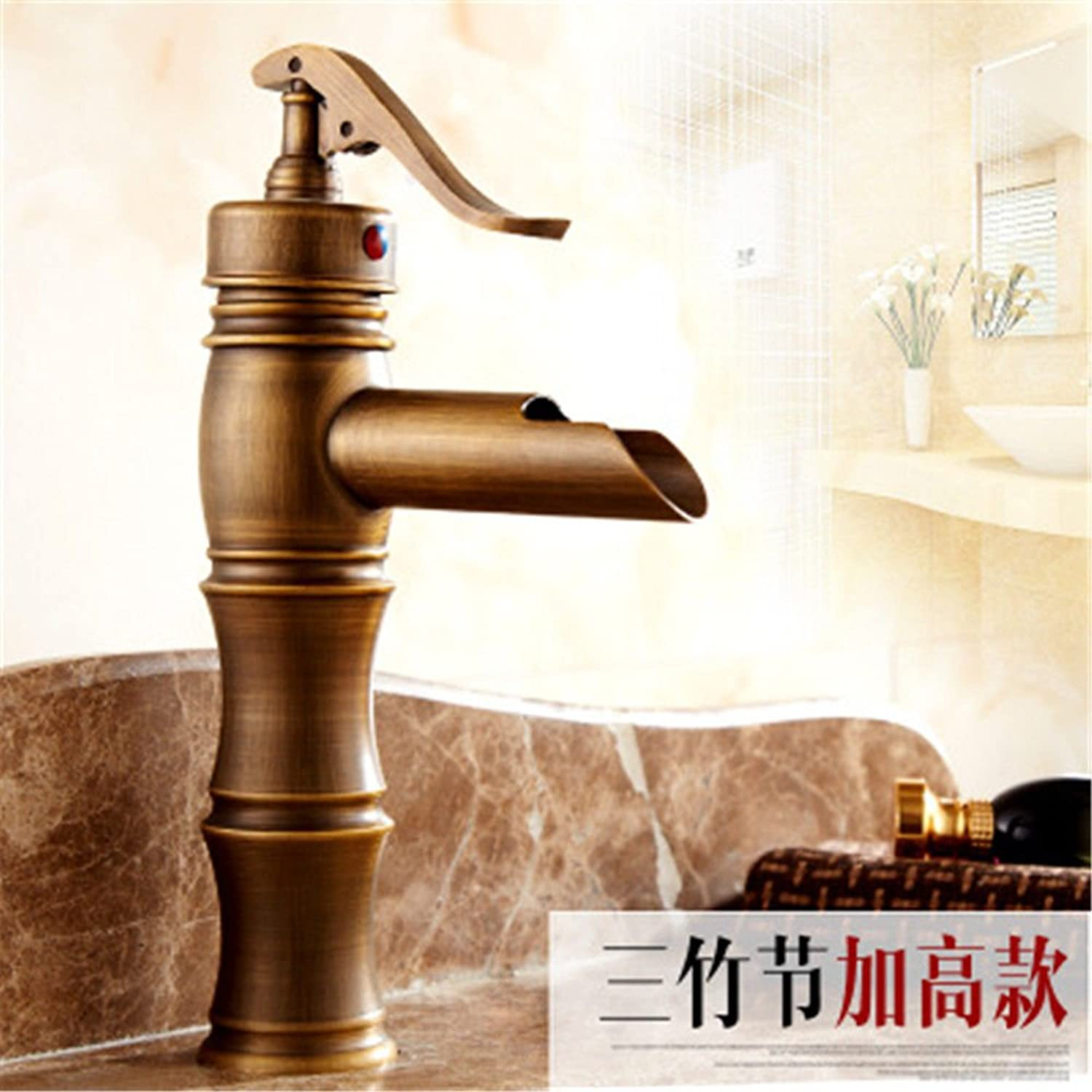 Hlluya Professional Sink Mixer Tap Kitchen Faucet The brass faucets antique faucet basin faucet with high water faucet waterfall faucet hot and cold-water faucet single lever,A,3