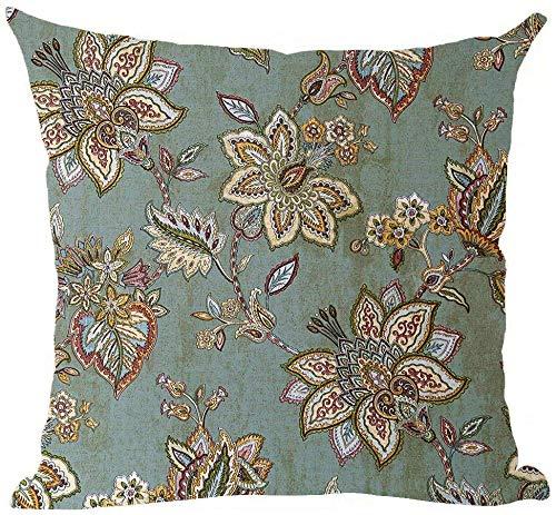 Mesllings - Funda de cojín de tela pintada a mano con diseño de hojas de flores retro bordadas de fondo azul para decoración del hogar, sala de estar, cama, sofá, coche, lino y algodón, cuadrado, 45,7 x 45,7 cm