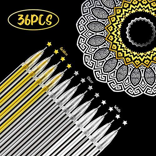 36 Piezas de Bolígrafo de Tinta de Gel de Plata Oro Blanco Diseño de Arte de Dibujo Resaltado de 0,5 mm para Dibujo en Papel Negro, Bocetos de Invitaciones de Boda y Libro de Colorear
