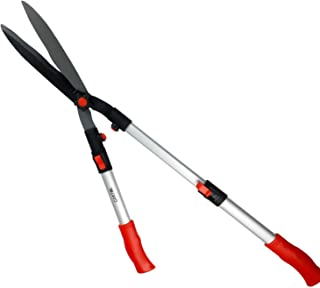 GARTOL Extendable Handle Hedge Shears with Adjustable Length Handle, 9inch Wavy Sk5 Blade, Shock-Absorbing Bumpers and Blade Tension Control Knob, Garden Hedge Pruning Shears Trimmers Clippers