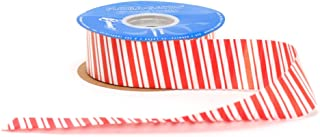 Berwick GFS013-09050-C075 Peppermint Stripe Flora-Satin Craft Ribbon, 1-7/16-Inch Wide by 50-Yard Spool, Red/White