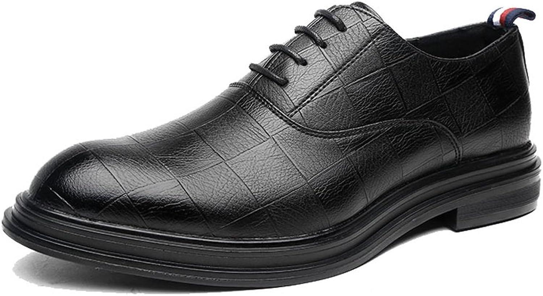 GBY Herren Herren Herren Business PU Leder Schuhe Klassische Lace Up Müßiggänger Quadratische Textur Starke Laufsohle Oxfords Atmungsaktiv  e5b112