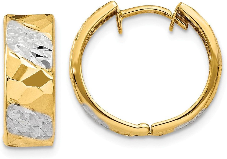 Beautiful Yellow gold 14K Yellowgold 14k 5mm Diamondcut Rhodium Hoop Earrings