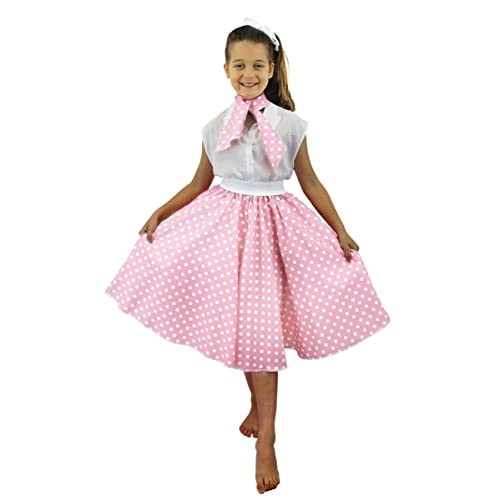001f14f97a7 DELUXE CHILDS ROCK N ROLL SKIRT FANCY DRESS COSTUME SET 26 INCHES LONG (66  CM