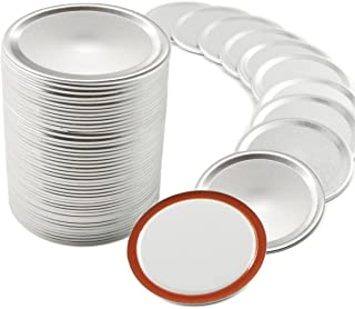 50 Pcs Wide Mouth Canning Lids for Ball/Kerr Jars - Mason Jar Lids with Silicone Seals Rings, Split-Type Leak Proof Cannin...