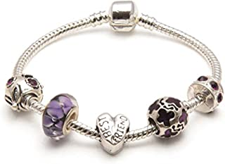 Liberty Charms Best Friend 'Purple Rush' Silver Plated Charm/Bead Bracelet